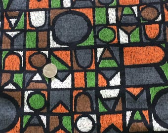Vintage african print fabric, orange and green bold fabric, fabric by the yard, alphabet print, abstract print, costume apparel fabric