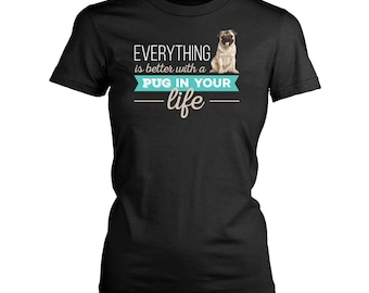 Pug womens fit T-Shirt. Funny Pug shirt.