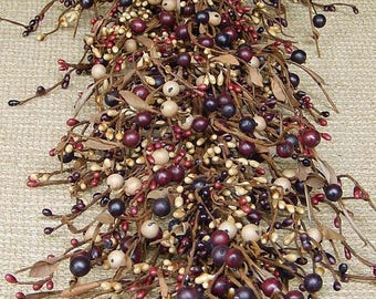 Mulberry Berry Garland with Mixed Berries, Fall Garland, Door Swag, Primitive Garland, Pip Berry