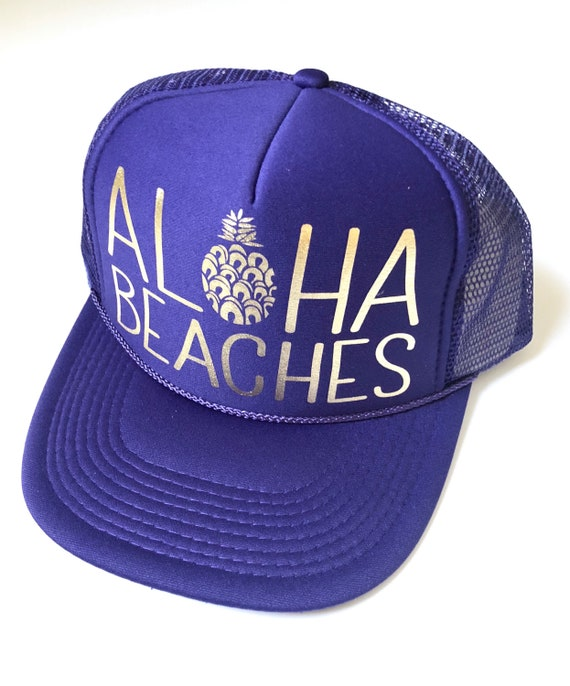 Purps Aloha Beaches Hat| Aloha Trucker Hat| Aloha Hat| Trucker Hat| Hawaii Hat| Pineapple Hat| Pineapple| Beach Hat| Purple Hat