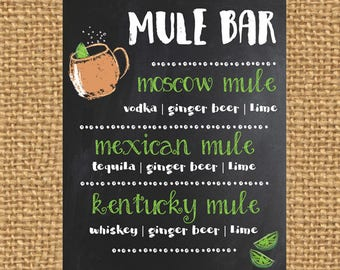 Mule Bar Chalkboard Sign | FREE SHIPPING | Moscow Mule | Kentucky Mule | Mule Drink | Mule | Moscow Mule Ingredients | Moscow Mule Recipe