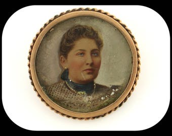 Victorian Lady Portrait Heavy 14K Yellow Gold BROOCH C1880
