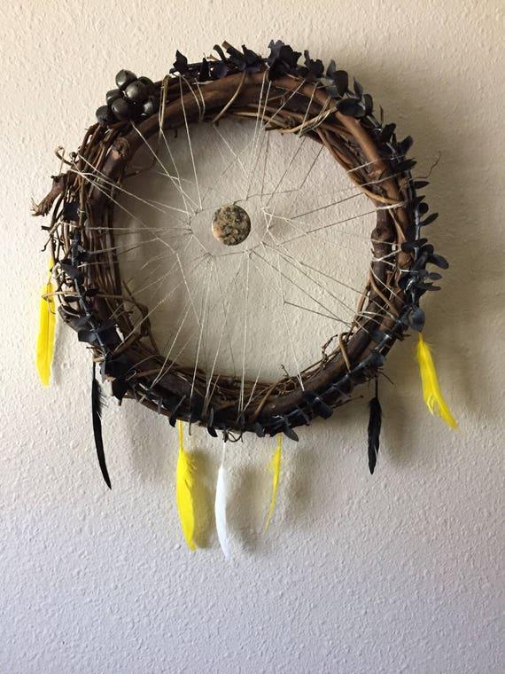 "Willow Dream Catcher- Eucalyptus Wreath- Boho Dream Catcher- Kitchen Wreath- Yellow and Black- Feather Dreamcatcher Wreath- 9"" Wreath"