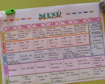 weekly meal planner English & Español
