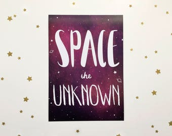 Space the Unknown - Galaxy Art Print - A5 - Space Art Print - Space Lovers - Outer Space - Space Art - Cosmic Print