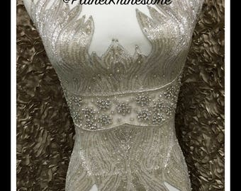 Beaded Rhinestone Bodice Applique #F027
