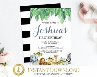 INSTANT DOWNLOAD Safari Invitation, Safari Baby Shower, Jungle Baby Shower, Printable Invitation, Editable Invitation, Safari Birthday