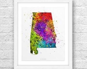 Alabama Map, Alabama Print, Alabama Art, Alabama State, Alabama Watercolor Design, Nursery Art, Alabama Printable,InstantDownload, ModernArt
