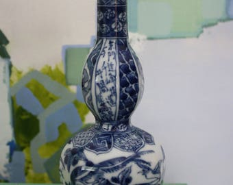 Petite Asian Blue and White Double Stacked Gourd Vase