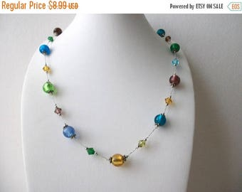 ON SALE Vintage Silver Tone Foil Glass Lamp Work Beads Necklace 62317