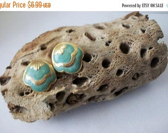 ON SALE Retro Gold Tone Seafoam Enameled Earrings 71617