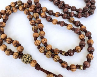 Mala Necklace, Wooden Necklace, Brown Mala, Olivewood, Meditation Necklace, Yoga Mala, 108 Prayer Beads, Long Necklace, Mens Mala Necklace