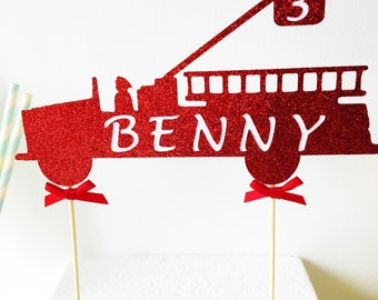 Fire Engine Cake Topper, Fire Truck, Personalised, Boy Party, Red Glitter, Custom Birthday, Centrepiece, Male Topper, Special Occasion