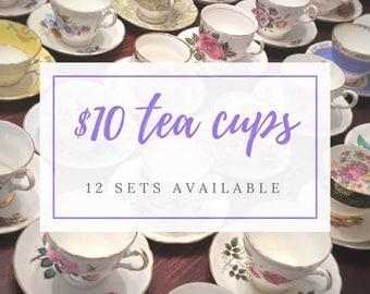 Complete Tea Party Set - Mix and Match Vintage Tea Cups - Mismatched Tea Cups - Bulk Tea Cups- Tea Party- Bulk Wedding China