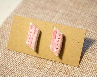 Light Pink Ceramic Stud Earrings, clay earrings, ceramic jewelry, statement jewelry, blush earrings