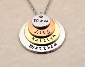 Personalized Gift for Mom - Hand Stamped Pendant Necklace - Birthday Gift for Mother Custom Engraved Mom Stacked Necklace Mother's Day Gift