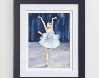 Original Watercolor Ballerina Painting