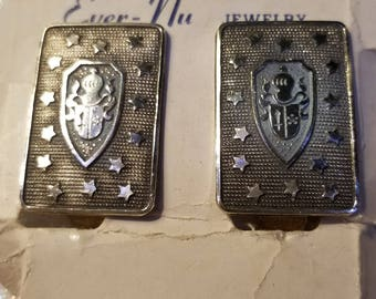 Vintage Knights Clip on earrings on Original Card Cool Find! Silvertone
