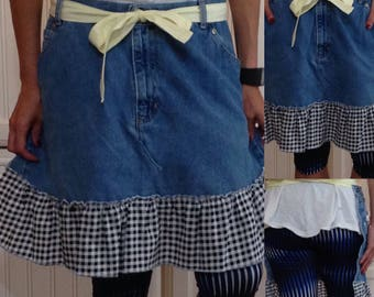 SALE Denim half apron cotton black gingham ruffle light yellow gingham long waist ties light blue denim apron repurposed denim