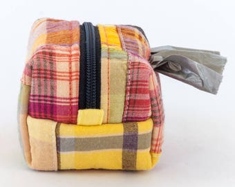 Dog poop bag holder // preppy summer - Madras plaid patchwork - mini dopp kit zipper pouch - clip on - gifts for dog lovers