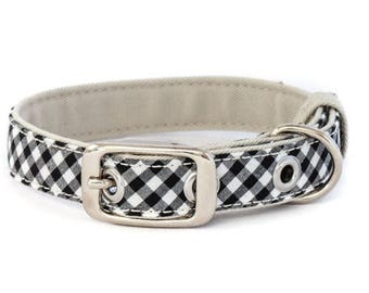 Classic dog collar, small size // black and white gingham - tan lining - traditional metal buckle in silver nickel finish