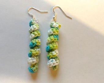 original green turquoise white crochet earrings