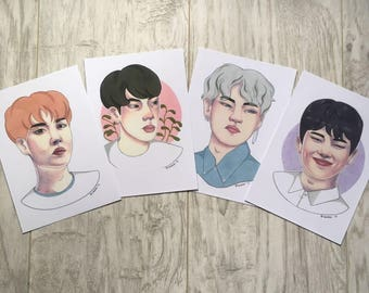 BTS J-hope, Jin, V, Rap Monster Art Prints, Army Fanart, K-pop