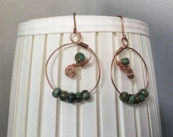 Unique handmade green quartz earrings. Copper wire with semi-precious stones of green color.