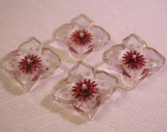 Set of 4 carved lucite buttons; clear/rose/white; vintage buttons; metal loop