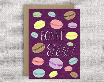 BONNE FÊTE | French Canadian birthday card, cute macaron card, patisserie, handmade, calligraphy, hand-lettered, French birthday card