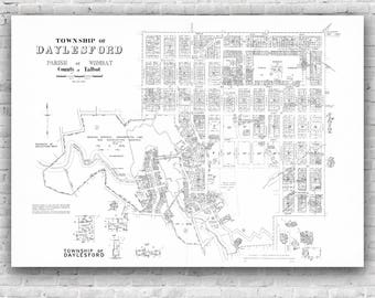Daylesford Map 1959 - vintage map, Antique Map, Ballarat,