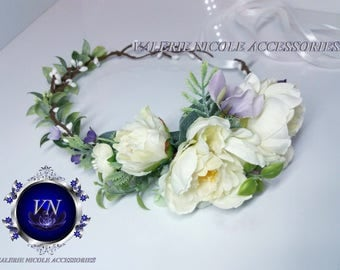 Flower girl crown Ivory Purple Peony flower crown Bridesmaid crown Floral crown Wedding flower crown Flower hair wreath Hair flower crown