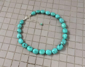 Genuine Turquoise Necklace, Knotted Natural Soft Light Blue Green Chinese Turquoise Pebble Beaded Necklace, Hubei Turquoise Beaded Necklace