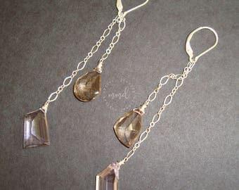 Long Sterling Silver Fine Chain and Abstract Cut Ametrine Dangle Earrings
