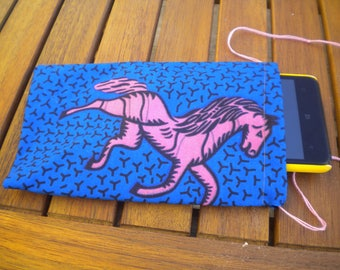 a bezel or cell phone is hand printed fabric cases