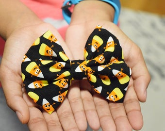 Candy Corn Hair Bow - Halloween Hair Bow - Halloween Hair Clip - Black Hair Bow - Fall Hair Bow