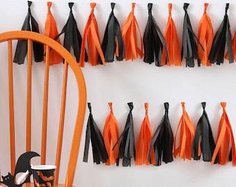 Halloween Black and Orange, paper tassel garland, Halloween party decoration, halloween decor