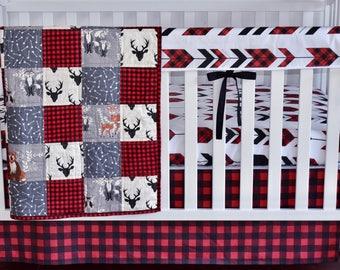 Fletching Arrows Crib bedding, antlers, bear, woodland nursery, lumberjack nursery, modern nursery, quilt, bumpers, deer, skirt