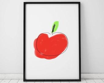 Apple INSTANT DOWNLOAD Printable, Kitchen Printable, Kitchen Print, Apple Printable, Red printable, Apple Print, Food Printable, Apple Print