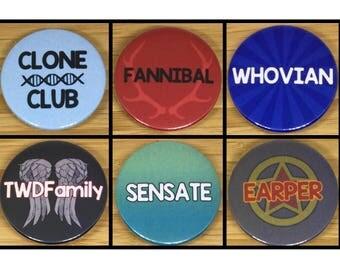 TV SHOW FANDOM name badges (38mm)