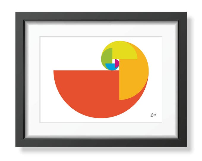 Fibonacci Parrot [mathematical abstract art print, golden spiral] A4/A3 sizes