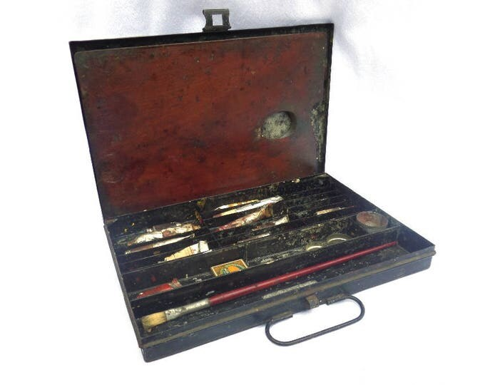 """Metal Painters Box, Antique Circa 1880, Victorian Painters Case, Wooden Artist's Pallette, Reeves and Sons, England, 12.75"""" x 8.5"""" x 1.5"""""""