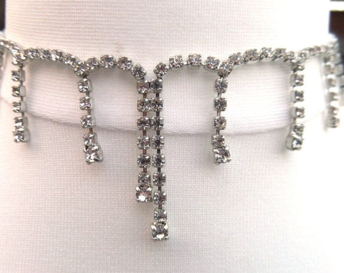 "FREE SHIPPING Rhinestone Faux Diamond Choker Necklace, White Metal, Vintage English Mid Century Costume Jewellery, Length 15"", Immaculate"