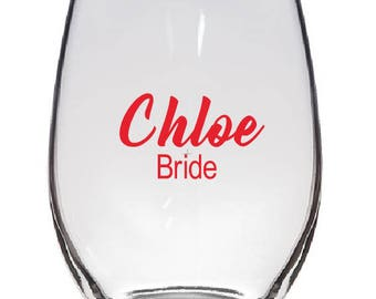 Bridal Party Wine Glass Decal- DECAL ONLY!