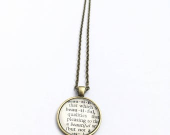 BEAUTIFUL Vintage Dictionary Word Pendant