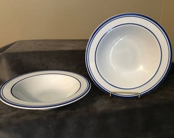 Cera Stone by Mikasa Blue and White Rimmed Soup Bowls