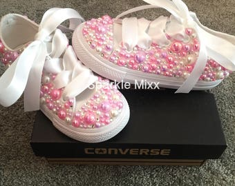 Kids Converse covered in Pearls and Crystals BLING flowergirl WEDDING