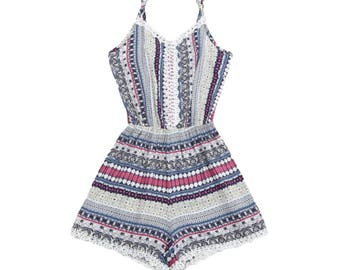 Tribal Print Sexy Romper Dress - Gray - Pink - White