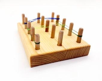 Montessori letter learning toy, Organic Geoboard, Montessori rubber art board, Holz Spielzeug, jouet en bois,  giocattolo di legno
