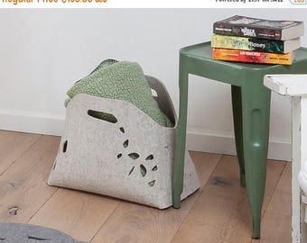 ON SALE Fire wood basket, wool felt storage basket, multi layer felt basket, felt bin, fire wood holder, fire wood rack, felt magazine holde